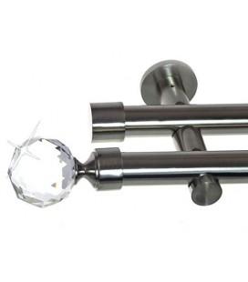 Garníža dvojitá Ø 19mm efekt-nerezová oceľ koncovka - Crystal gula