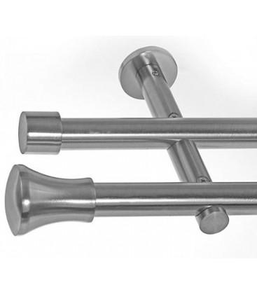 Garníža dvojitá Ø 19mm efekt-nerezová oceľ koncovka - Koloseo hladke