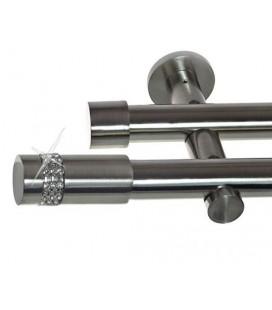 Garníža dvojitá Ø 19mm efekt-nerezová oceľ koncovka - Cylinder crystal