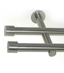 Garníža dvojitá Ø 19mm efekt-nerezová oceľ koncovka - Pullo