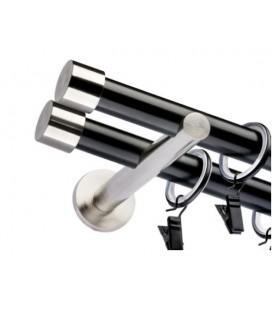 Dvojitá 19mm matná čierna koncovka Pullo efekt nerez