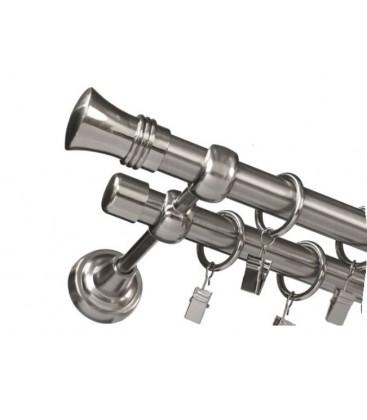 Garníža dvojitá Ø 19mm efekt-nerezová oceľ koncovka - Capri