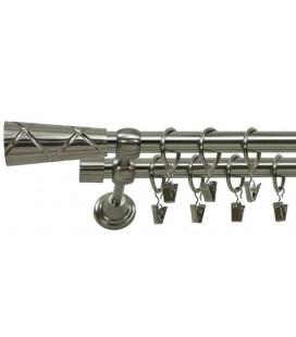Garníža dvojitá Ø 19mm efekt-nerezová oceľ koncovka - Trapezium