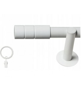 Jednoduchá 25mm biela matna koncovka Cylinder hladky
